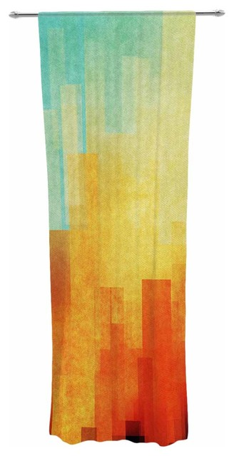 "Cvetelina Todorova ""urban Sunset"" Teal Geometric Decorative Sheer Curtain."
