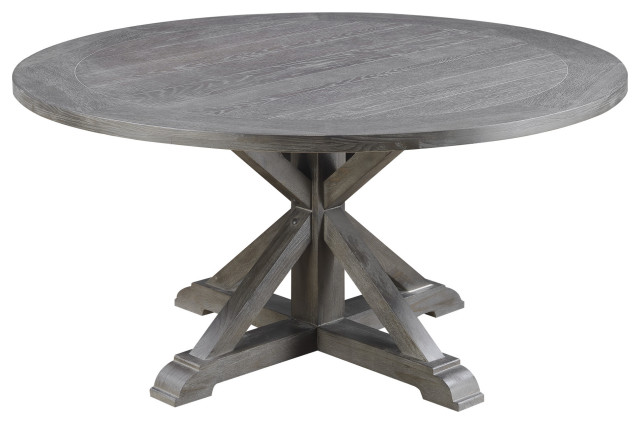Blevins Round Dining Table Weathered, Round Gray Dining Table
