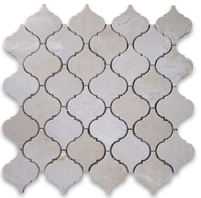 "12""x12"" Crema Marfil Medium Lantern Shaped Arabesque Baroque Mosaic Polished."