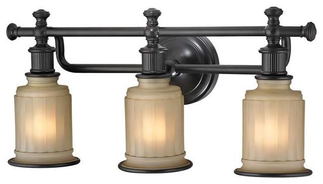 Feiss Canterbury 3 Light Vanity Fixture Oil Rubbed Bronze: Elk Lighting 52012/3 Acadia Transitional Bathroom Light In