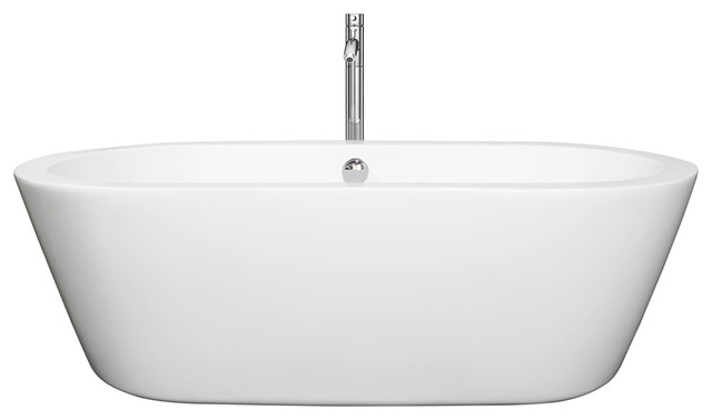 "Mermaid 71"" Center Drain White Soaking Tub With Floor Mounted Faucet, Chrome."