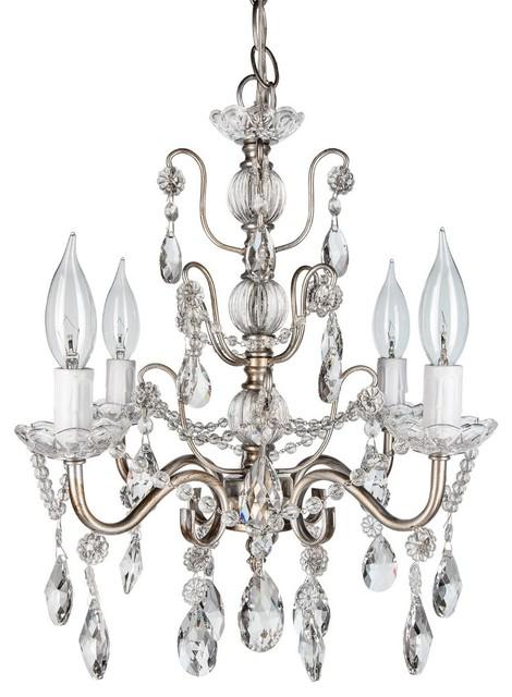 Madeleine 4-Light Chic Glass Crystal Chandelier, Silver