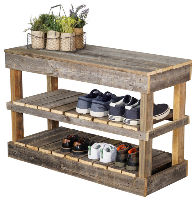 Barnwood Shoe Rack - Farmhouse - Shoe Storage - by (del)Hutson Designs