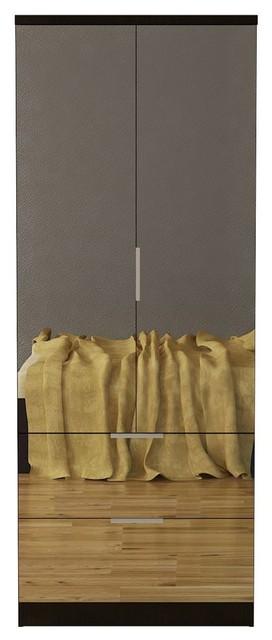 Gianna Espresso Mirrored Wardrobe.