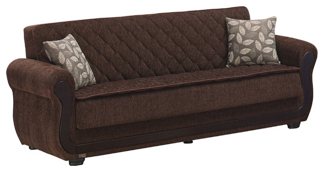 Empire Furniture Usa Sunrise Large Folding Sofa Sleeper Bed And Dark Brown.