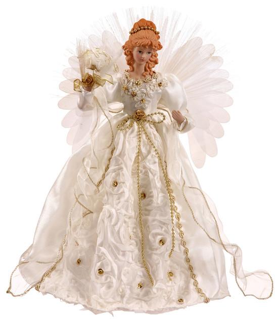 """18"""" White/gold Angel Fiber Optic Wings."""