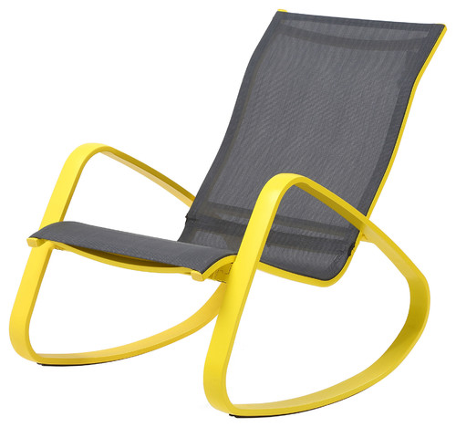 Eero Aluminum Sling Rocking Chair, Yellow