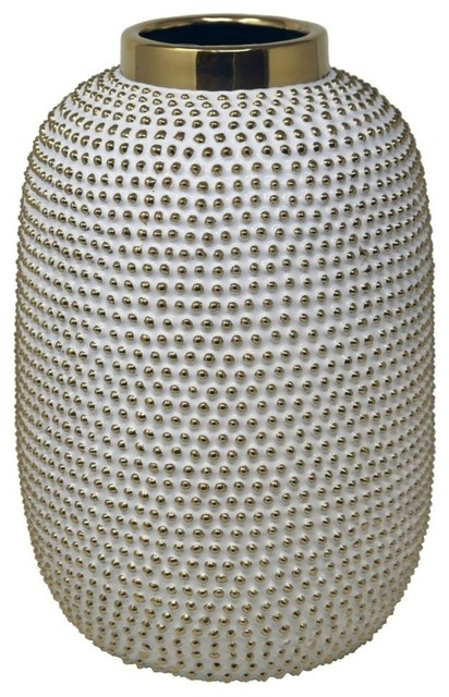 "Sagebrook Home  Spiked White/Gold Vase 14.75"""