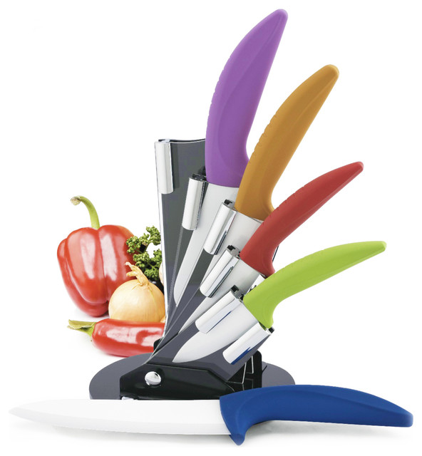 Premium Multicolor 5-Piece Ceramic Knife Set With Block