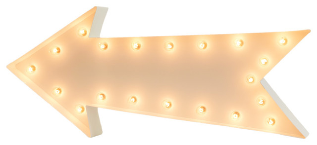 Large Arrow Steel Marquee Light by Iconics, White Powdercoat
