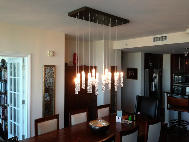 twist chandelier contemporary dining room new york