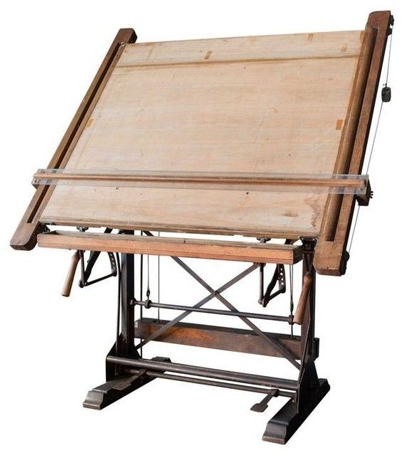 Late 19th C. Belgian Drafting Table Industrial Drafting Tables