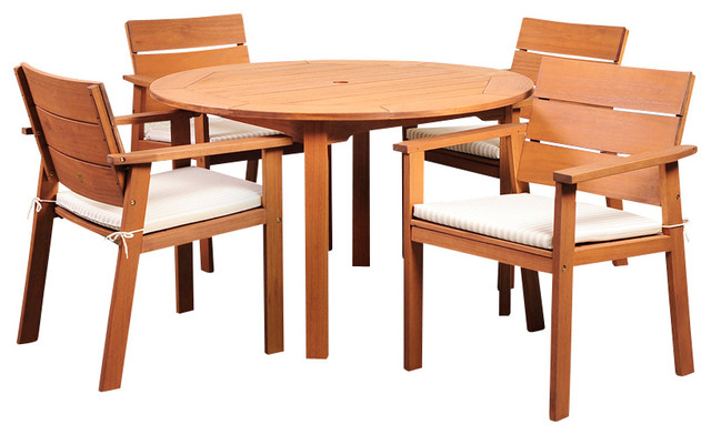 Nelson Eucalyptus 5-Piece Round Patio Dining Set.