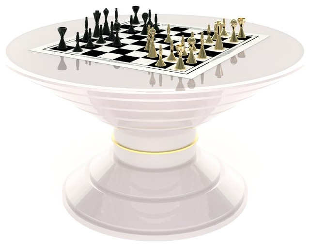Coffee Table With Inlaid Chess Board, Round Contemporary Game Tables