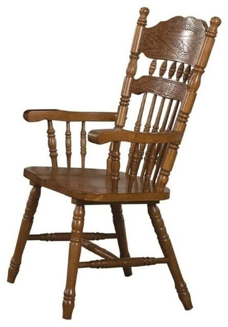 Oak Spindle Dining Chairs ~ Bowery hill turned spindles dining side chair oak