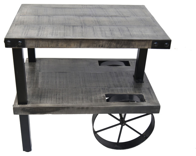 Solid mango wood cast iron accent table distressed gray for Cast iron end table