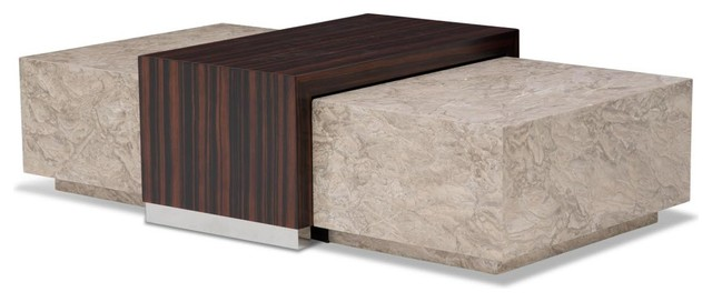 AICO Michael Amini Sergio Cocktail Table With Ebony Veneer Contemporary  Coffee Tables