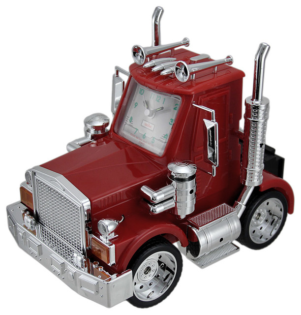 Industrial Rig Lights Ir4: North American Big Rig Red Semi Truck Alarm Clock With