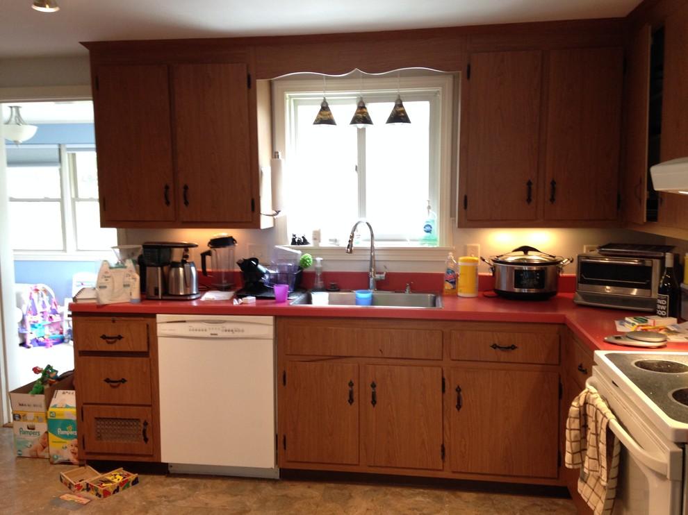 Dark, cramped kitchen