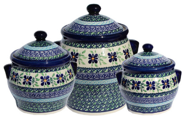 Elegant Polish Pottery Canister Set, Pattern Number: Du121set Farmhouse Kitchen  Canisters And