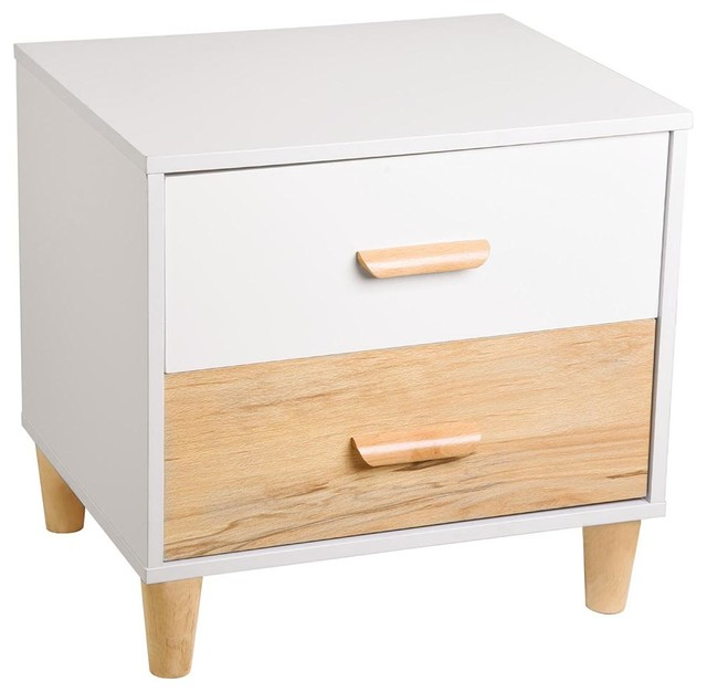 Wooden Nightstand Bed Side Table 2-Drawer Cabinet Storage Home Bedroom.
