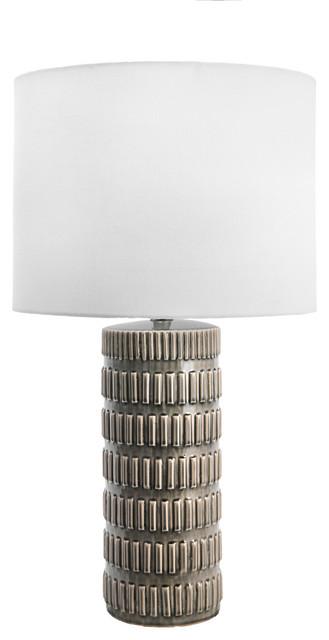 "25"" Tangela Ridged Ceramic Linen Shade Gray, On-Off Switch Table Lamp"