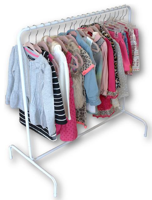 garment rack with 10 black hangers pink hangers midcentury