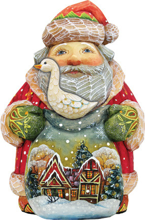 Hand Painted Christmas Goose Santa Figurine.