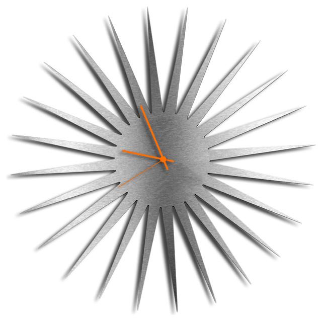 Mcm Starburst Clock Silver Orange Midcentury Modern Style Wall Clocks