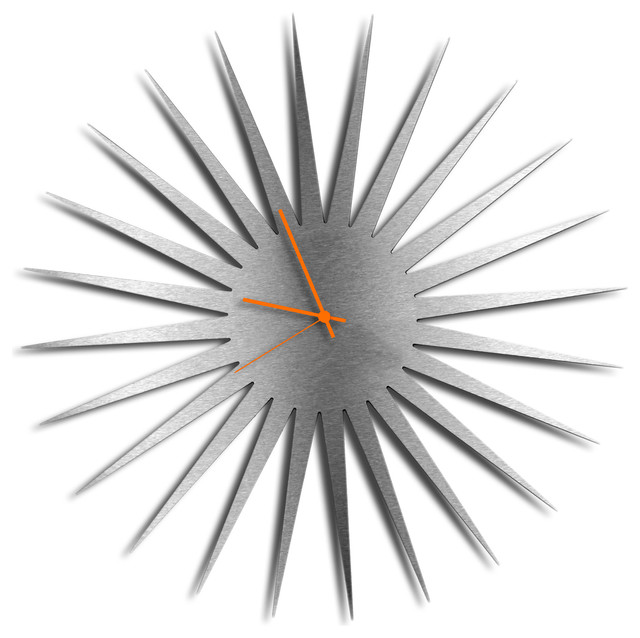 Metal art studio mcm starburst clock silver midcentury for Silver wall clocks modern