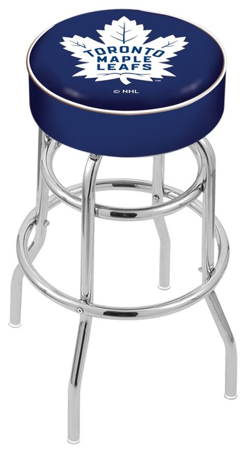 Awe Inspiring 25 Toronto Maple Leafs Cushion Seat With Double Ring Chrome Base Bar Stool Bralicious Painted Fabric Chair Ideas Braliciousco