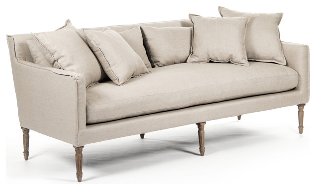 Shop Houzz Kathy Kuo Home George Modern French Country Linen Grey Oak Louis Style Sofa Sofas