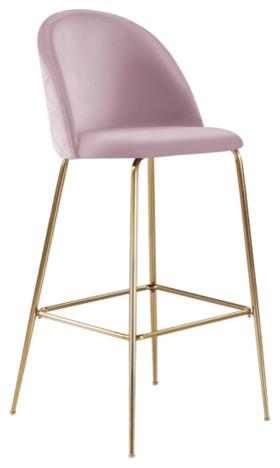 Millennial Brass Velvet Upholstered Dining Bar Stool, Blush Pink, 75 cm