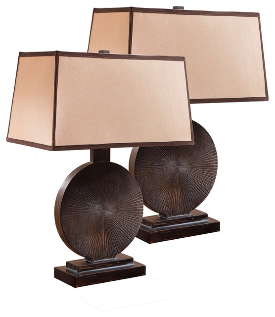Traditional Style Espresso And Brown Table Lamp, Set Of 2 Lamps.
