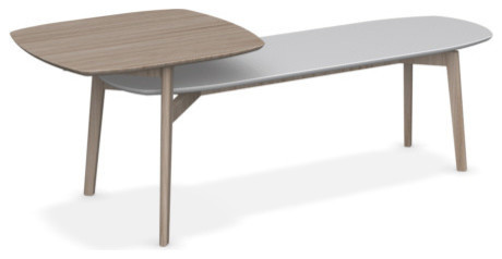 Match 2-Top Coffee Table, Natural Finish, Mattee White And Natural Top.