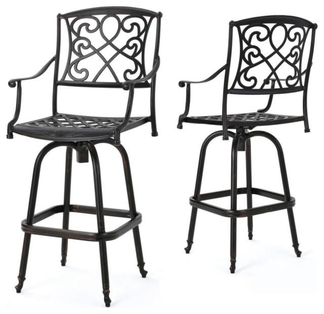 GDF Studio Paris Copper Finish Cast Aluminum Swivel Bar Stools, Set of 2