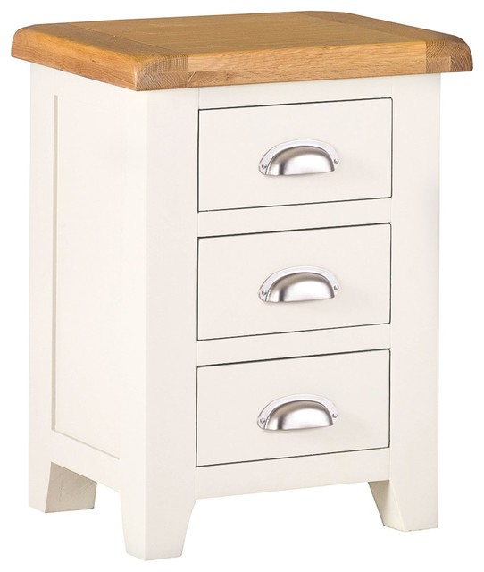 Padstow Ivory Painted Oak Large 3-Drawer Bedside Table