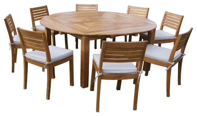 Santorini Multi Option Teak Patio Dining Set 8 Chairs Transitional Outdoor Sets By Signature Rattan
