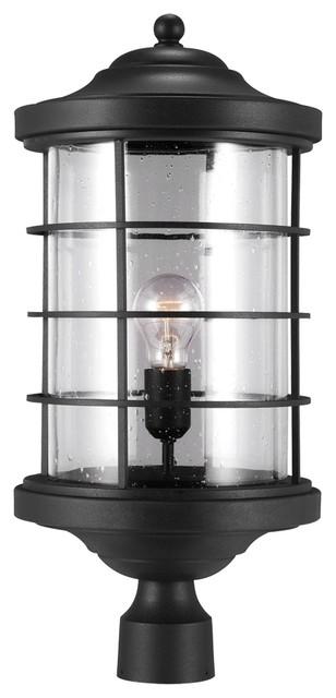 1-Light Outdoor Post Lantern, Black.