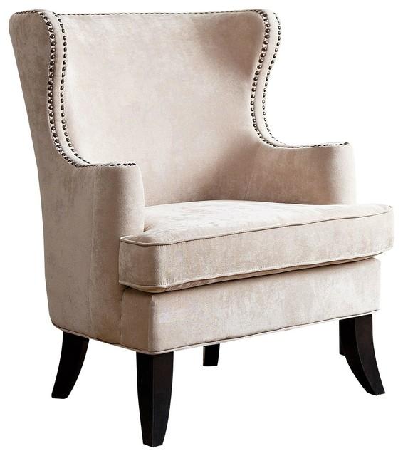 Abbyson Living Lauren Fabric Nailhead Trim Armchair, Cream by Abbyson Living