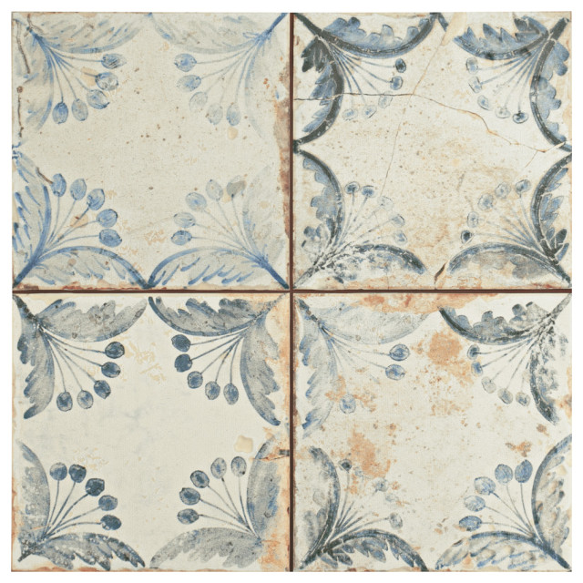 """SomerTile 13""""x13"""" Oldker Ceramic Floor and Wall Tile, Case of 10"""