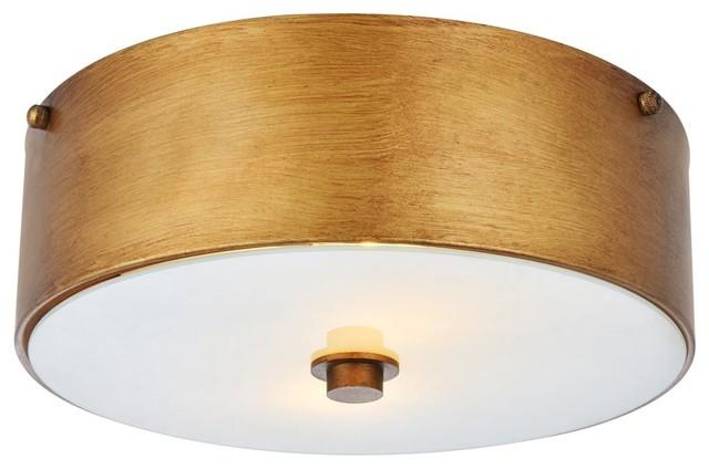 Elegant Living District Hazen 2 Light 12 Vintage Gold Flush Mount Transitional Ceiling Lighting By And Locks