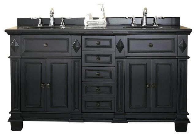 Milan Bathroom Vanity Set With Black Granite Vanity Top And White Sink Traditional Bathroom Vanities And Sink Consoles By Bathselect