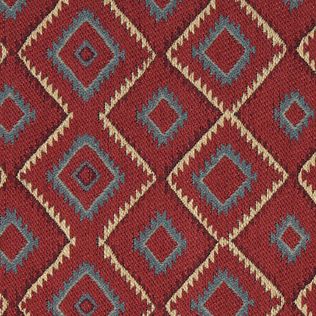 Blue Red Beige And Green Diamond Southwest Style Upholstery Fabric