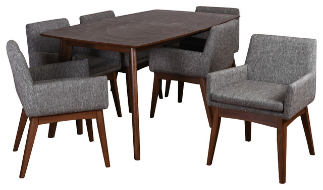 Ruby 7-Piece Dining Set, Coral Fabric.