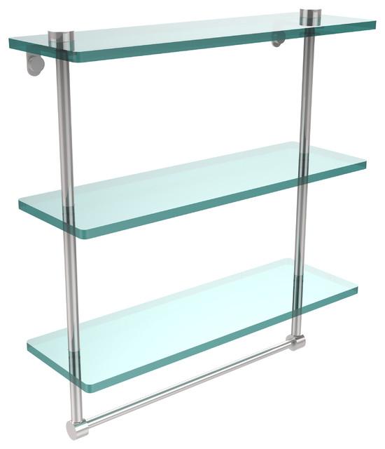 """16"""" Triple Glass Shelf With Towel Bar, Polished Chrome."""