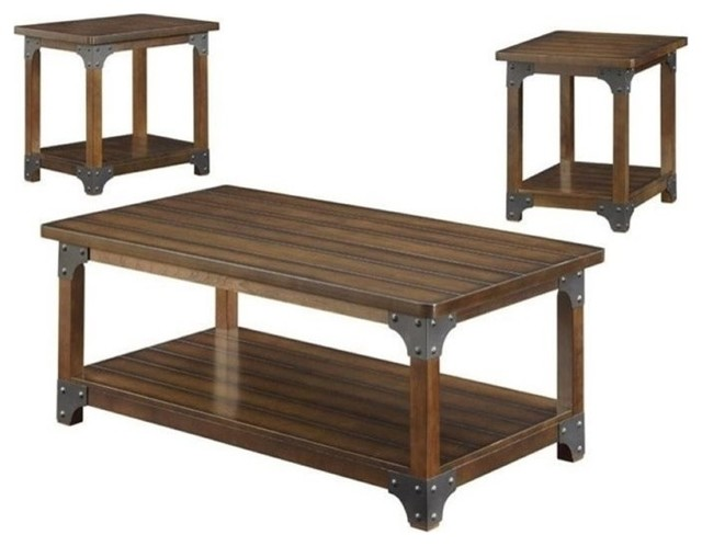 Bowery Hill 3-Piece Coffee Table Set, Brown.