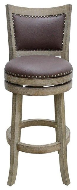 24 Quot Wire Brush Swivel Counter Stool In Weathered White