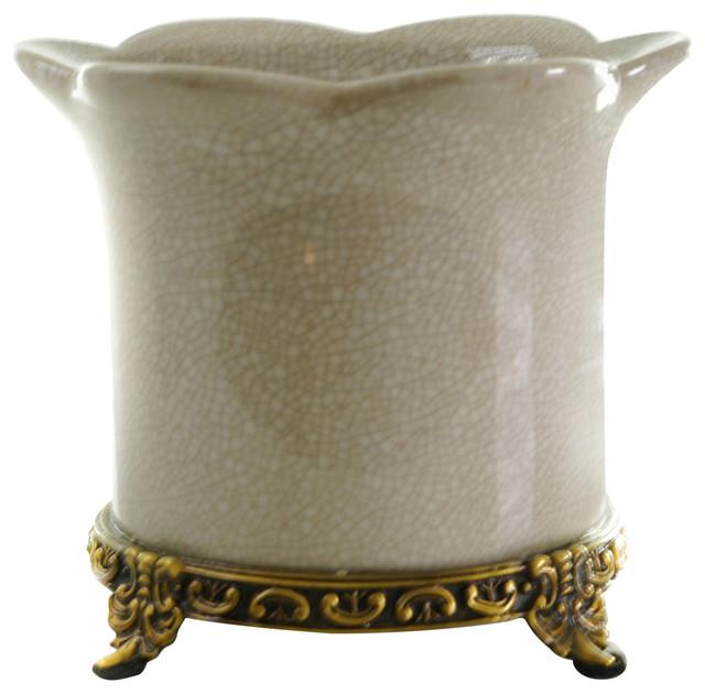 Beautiful Porcelain Planter White Crackle Color Antiqued Brass Accents