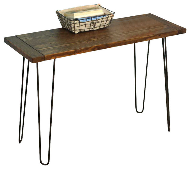 Planked Farmhouse Top Console With Hairpin Legs Industrial